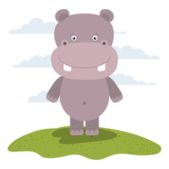 white background with color scene cute hippopotamus animal in grass
