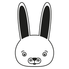 white background with monochrome silhouette caricature face rabbit