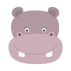 white background with colorful caricature face hippopotamus cute animal