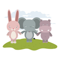 white background with color scene rabbit elephant and hippopotamus cute animals holding hands in grass