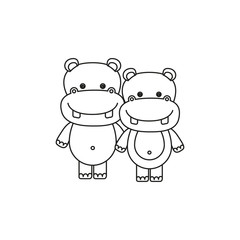 white background with silhouette caricature couple cute animal hippopotamus