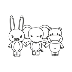white background with silhouette caricature rabbit elephant and hippopotamus cute animals holding hands