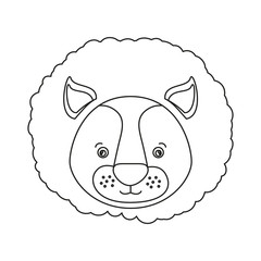 white background with silhouette caricature face lion cute animal