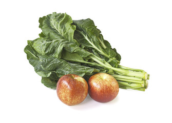 Collard greens and apples