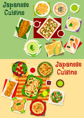Japanese cuisine icon set for asian food design