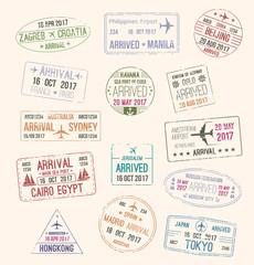 Passport stamp of travel visa for tourism design