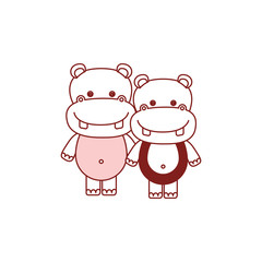white background with red color silhouette sections of caricature couple cute animal hippopotamus