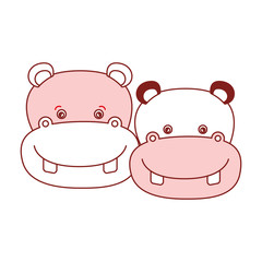 white background with red color silhouette sections of caricature face couple cute animal hippopotamus