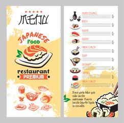 Japanese food for asian cuisine restaurant menu