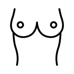 A pair of human breasts with nipples & stomach line art icon for medical apps and websites