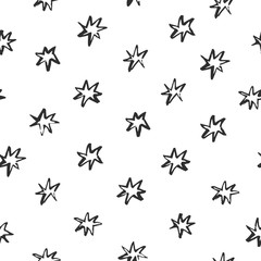 Abstract pattern with stars drawn in brush style on white background. Perfect for textile, blog decoration, banner, poster, wrapping paper.