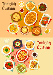 Turkish cuisine dinner with delight icon set