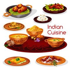 Indian cuisine thali dishes cartoon icon design