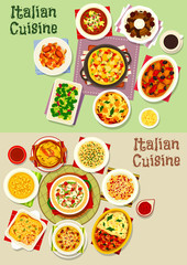 Italian cuisine pasta dishes icon set, food design