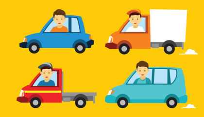 various vehicle car illustration flat design