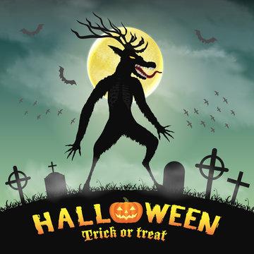 halloween scary wendigo monster in night graveyard