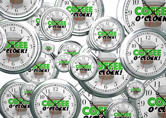 Coffee OClock Break Time Clocks 3d Illustration