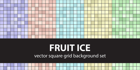 Square pattern set Fruit Ice. Vector seamless tile backgrounds
