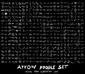 Arrow hand draw sketch vector doodle icons set on blackboard eps10