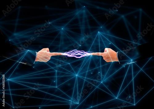 物理現象 お互いの指先を行き交...