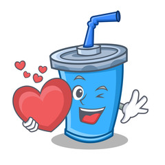 soda drink character cartoon with heart