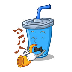 soda drink character cartoon with trumpet