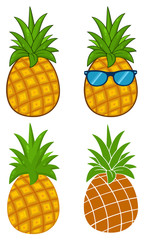 Pineapple Fruit With Green Leafs Cartoon Drawing Simple Design Series Set 1. Collection Isolated On White Background