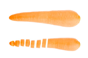 Fresh carrot and cut pieces isolated on white background