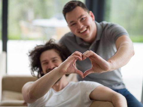 Gay Couple Love Home Concept