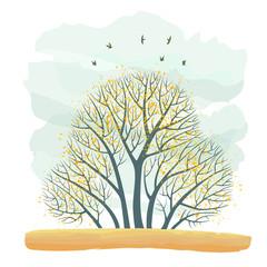 Цветная иллюстрация с группой осенних деревьев с последними жёлтыми листьями, стоящими на оранжевой полянке, на фоне серого облаков и летающих птиц.