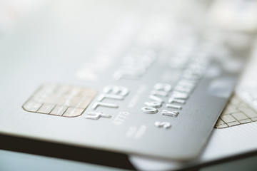 Credit cards with shallow focus, toned picture