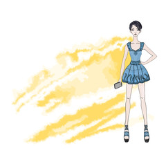 Cute young short-haired girl in a short dress with a smartphone in hand. Vector fashion illustration, isolated on white background.
