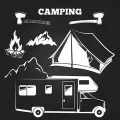 Camping or hiking vintage elements on chalkboard