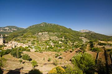 Beautiful panorama of Valldemossa, famous old mediterranean village of Majorca Spain.
