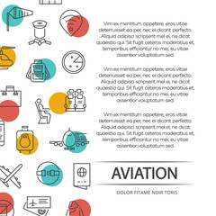 Aviation poster concept with outline icons