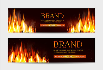 Vector set. Illustration with a burning fire on a dark background. Template for advertising, brochures, flyers, modern promotion.