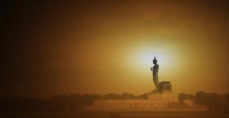 Silhouette public big Buddha (Phutthamonthon)