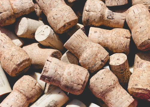 Used old vintage wine and champagne corks backgrounds