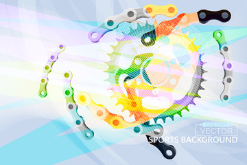 Colorful sports gear and chain scene vector abstract wallpaper background