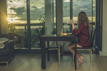 Woman having breakfast by window in city apartment