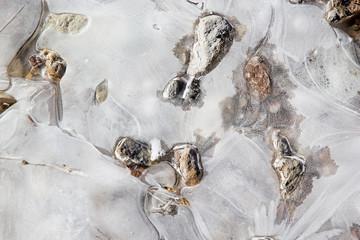 Ice texture with stones