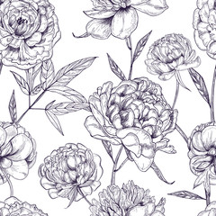 Beautiful peonies seamless pattern. Hand drawn blossom flowers, buds and leaves. Black and white vector illustration.