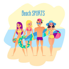 Beach sports. Four young people on the beach