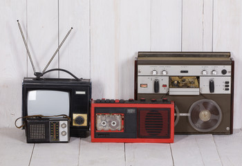 Old audio and video equipment, old TV and tape recorder