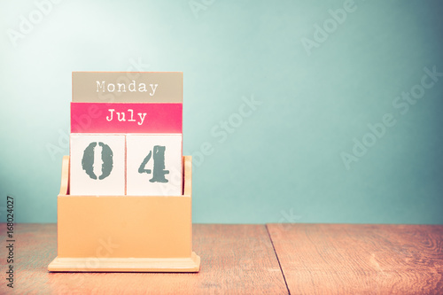 Fourth Of July On Retro Wooden Desk Calendar Date Usa Independence Day Holiday