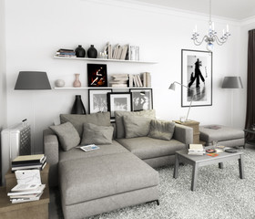 Bücher im Wohnzimmer, Einrichtung und Dekoration