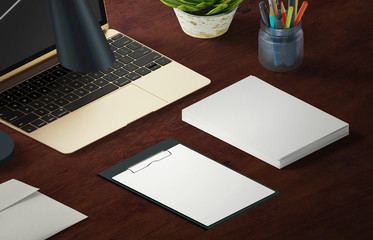 Mockup scene, paper blank on the table with decoration for your graphic design