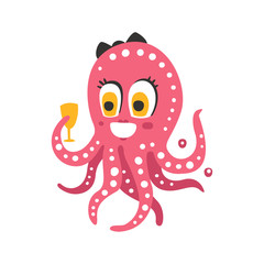 Cute cartoon pink female octopus character holding glass, funny ocean coral reef animal vector Illustration