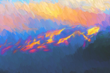 Dramatic mountains in the evening, digital painting illustration.