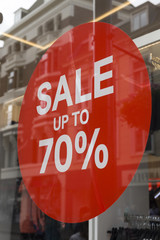 Sale up to 70 percent red sign